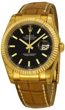 Rolex Datejust Black Dial 18kt Yellow Gold Brown Leather Strap Men's Watch 116138BKSL