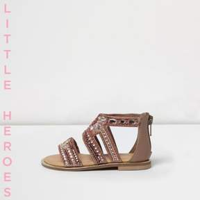 River Island Mini girls pink gem embellished sandals