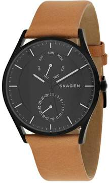 Skagen Holst SKW6265 Men's Black Stainless Steel and Brown Leather Watch