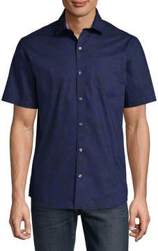 Claiborne Short Sleeve Floral Button-Front Shirt