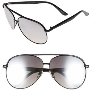 Quay Junior Women's 'Macaw' 65Mm Aviator Sunglasses - Black/ Silver Mirror