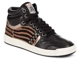 Ash Olympic Lace-Up Calf Hair High Top Sneakers