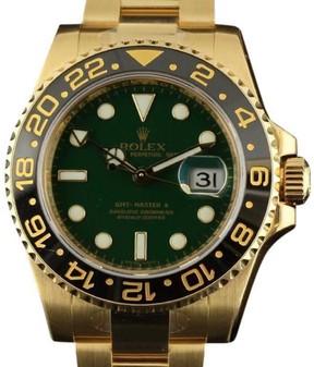 Rolex GMT-Master II 116718 18K Yellow Gold Green 2016 40mm Watch