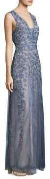 BCBGMAXAZRIA Ruffle Tulle Floor-Length Gown