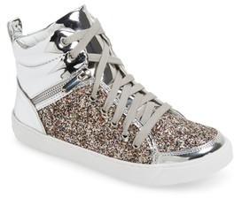 Sam Edelman Girl's Britt Remy Glitter High Top Sneaker
