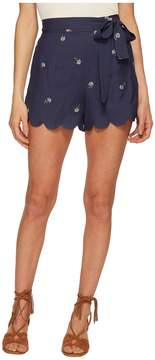 J.o.a. Embroidered Shorts with Scallop Hem Women's Shorts