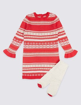 Marks and Spencer 2 Piece Cotton Rich Knitted Dress with Tights (3 Months - 6 Years)