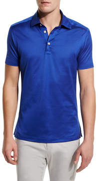 Kiton Solid Sateen Polo Shirt, Royal Blue