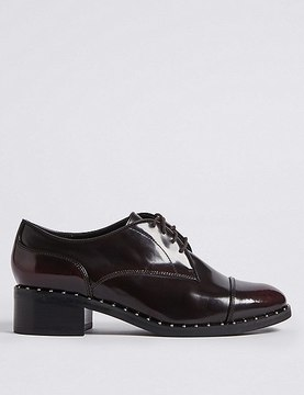 Marks and Spencer Wide Fit Leather Block Heel Brogue Shoes