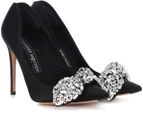 Alexander McQueen Crystal-embellished satin pumps