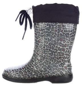 Armani Junior Girls' Leopard Print Rain Boots