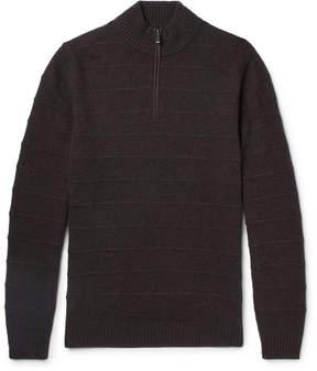 Ermenegildo Zegna Nubuck-Trimmed Striped Cashmere Half-Zip Sweater