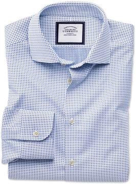 Charles Tyrwhitt Classic Fit Semi-Spread Collar Business Casual White and Navy Spot Egyptian Cotton Dress Shirt Single Cuff Size 16/34