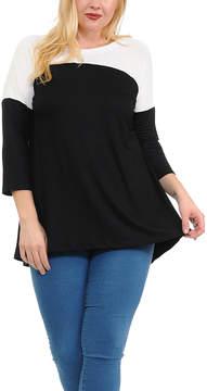 Celeste Black & Ivory Color Block Split-Back Tunic - Plus