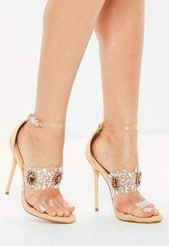 Missguided Nude Embellished Perspex Strap Barely There Sandals