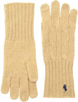 Polo Ralph Lauren Cashmere Blend Classic Cable Knit Gloves Extreme Cold Weather Gloves