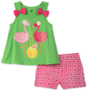 Kids Headquarters 2-Pc. Flamingo Top & Shorts Set, Baby Girls