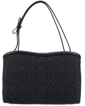 Judith Leiber Leather-Trimmed Jacquard Handle Bag