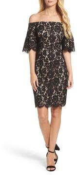 Eliza J Women's Flounce Sleeve Off The Shoulder Lace Sheath Dress
