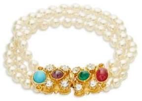 Ben-Amun Crystal and Faux Pearl Bracelet