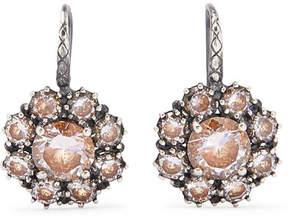 Bottega Veneta Oxidized Silver Crystal Earrings