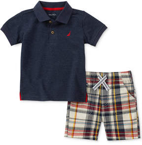 Nautica 2-Pc. Polo & Plaid-Print Shorts Set, Baby Boys