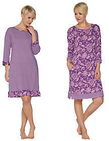 Carole Hochman Batik & Stripe Sleepshirt Set