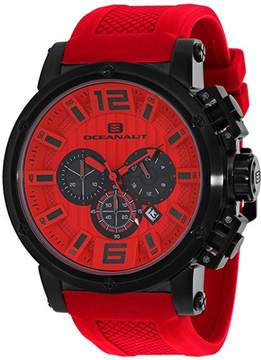 Oceanaut Spider Collection OC2142 Men's Stainless Steel and Red Silicone Watch