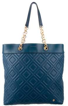 Tory Burch Fleming Quilted Leather Tote - BLUE - STYLE