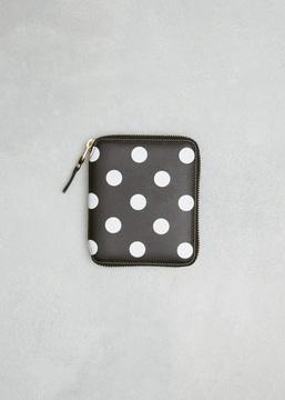 Comme des Garcons WALLET black dots print leather line wallet