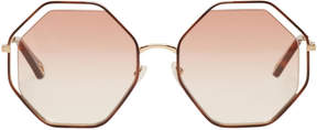 Chloé Gold and Pink Hexagon Sunglasses