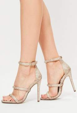 Missguided Nude Snake Print 3 Strap Barely There Heels