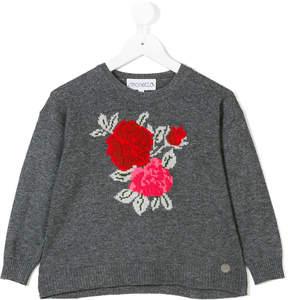 Simonetta rose intarsia-knit sweater