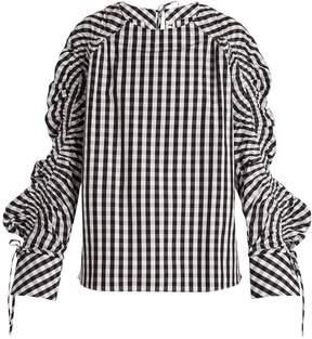 DAY Birger et Mikkelsen TEIJA Smocked-sleeve striped cotton top