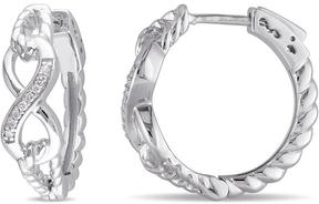 Ice Diamond Accented Sterling Silver Infinity Looped Rope Design Huggie Earrings