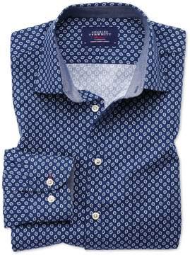 Charles Tyrwhitt Slim Fit Blue and White Geometric Print Cotton Casual Shirt Single Cuff Size XS