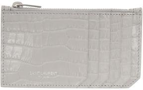 Saint Laurent Grey Croc 5 Fragments Zip Card Holder - GREY - STYLE