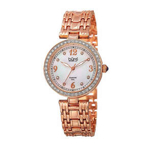 Burgi Womens Rose Gold Tone and White Bracelet Watch