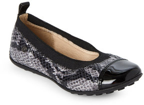 Naturino Toddler/Kids Girls) Black & Grey Snake-Effect Ballet Flats