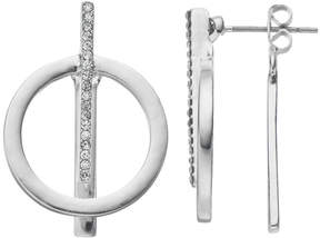 Chaps Circle & Pave Bar Nickel Free Front Back Earrings
