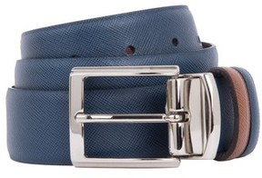 Bugatchi Men's Crosshatched Leather Belt