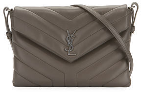 Saint Laurent Loulou Mini Monogram Crossbody Bag - GRAY - STYLE