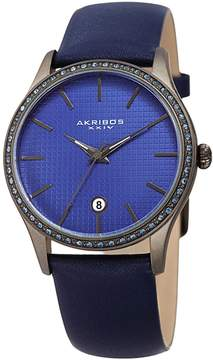 Akribos XXIV Blue Dial Leather Ladies Watch