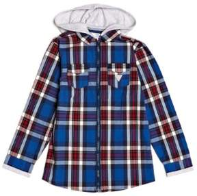 GUESS Boy's Plaid Hoodie Shirt (7-18)