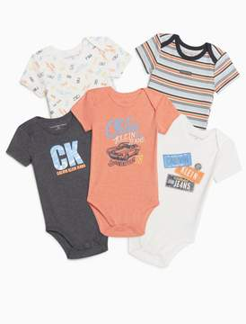 Calvin Klein boys 5-pack orange sleeveless onesies