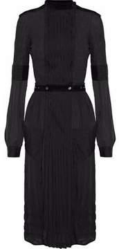 Belstaff Pleated Paneled Silk-Chiffon And Jersey Dress