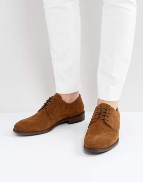 Asos Lace Up Derby Shoes In Tan Suede With Natural Sole