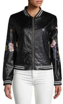 Saks Fifth Avenue RED Embroidered Faux-Leather Bomber Jacket
