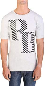 Pierre Balmain Men's Graphic Logo Crewneck T-shirt Grey.