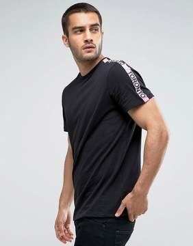 New Look T-Shirt With Pink Taping In Black